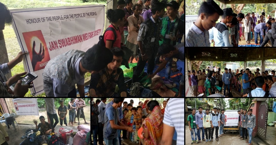 Clothes distribution in Assam by Jan Swabhiman